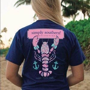 Simply Southern Preppy Lobster Navy Aqua Pink Tee